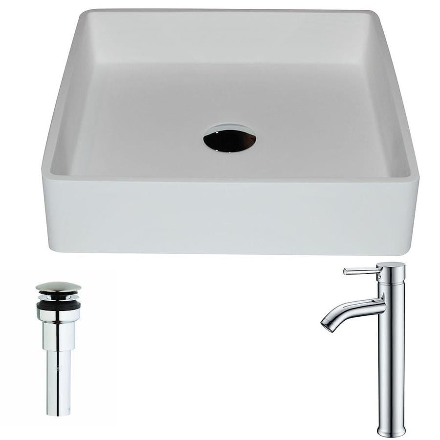 Anzzi Passage Matte White Stone Square Vessel Bathroom Sink Faucet Included Drain Included In The Bathroom Sinks Department At Lowes Com