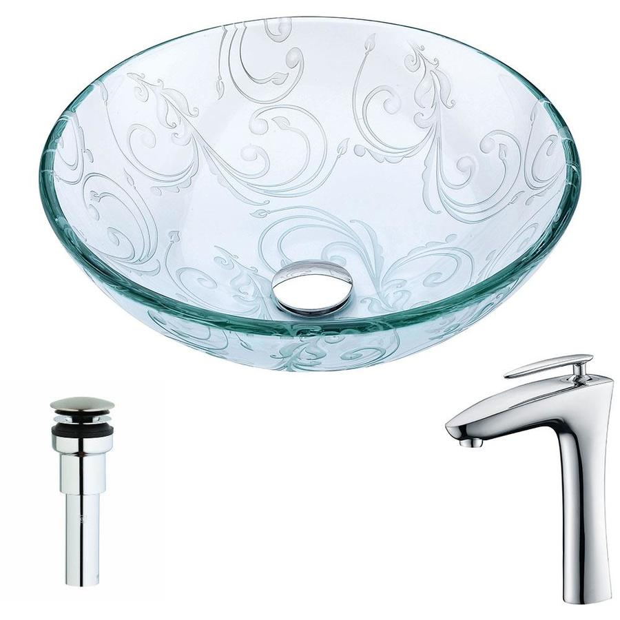 Shop Anzzi Vieno Series Clear Floral Tempered Glass Round Vessel Bathroom Sink With Faucet