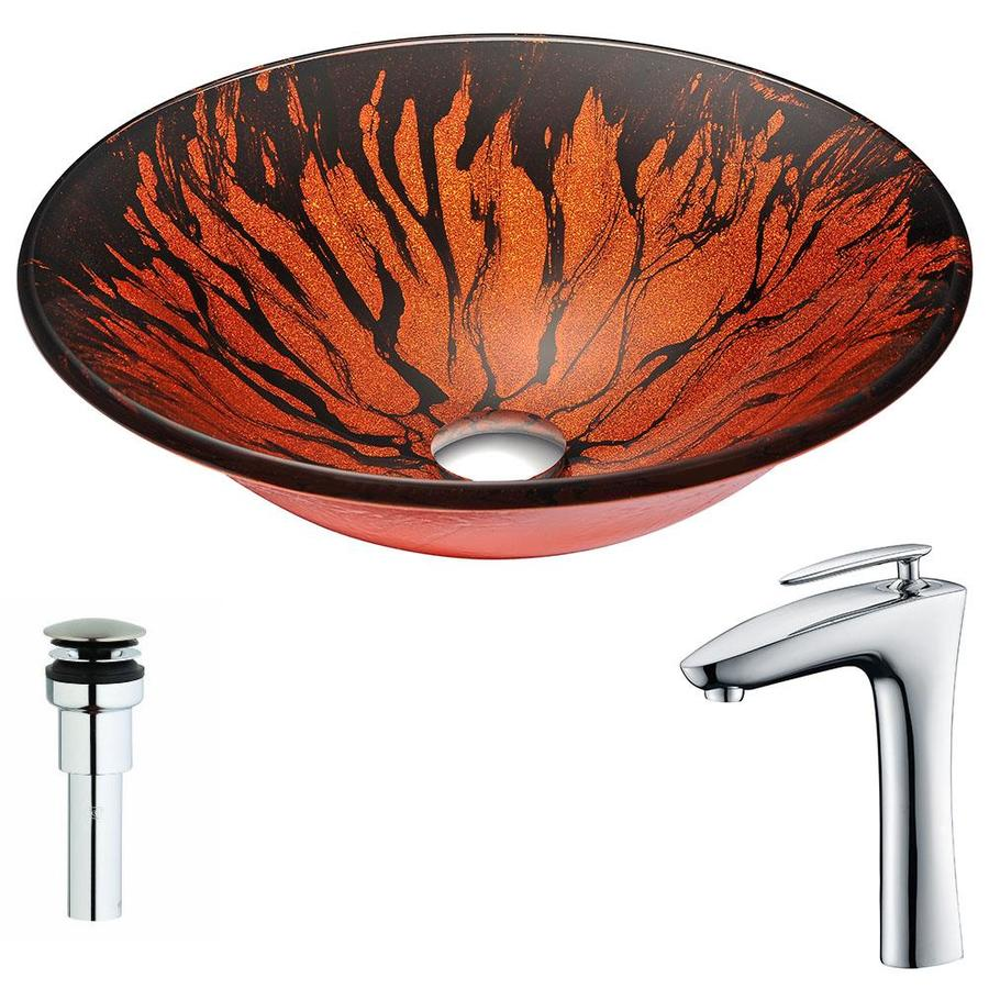 ANZZI Forte Series Lustrous Red And Black Tempered Glass Round Vessel Bathroom Sink with Faucet (Drain Included)