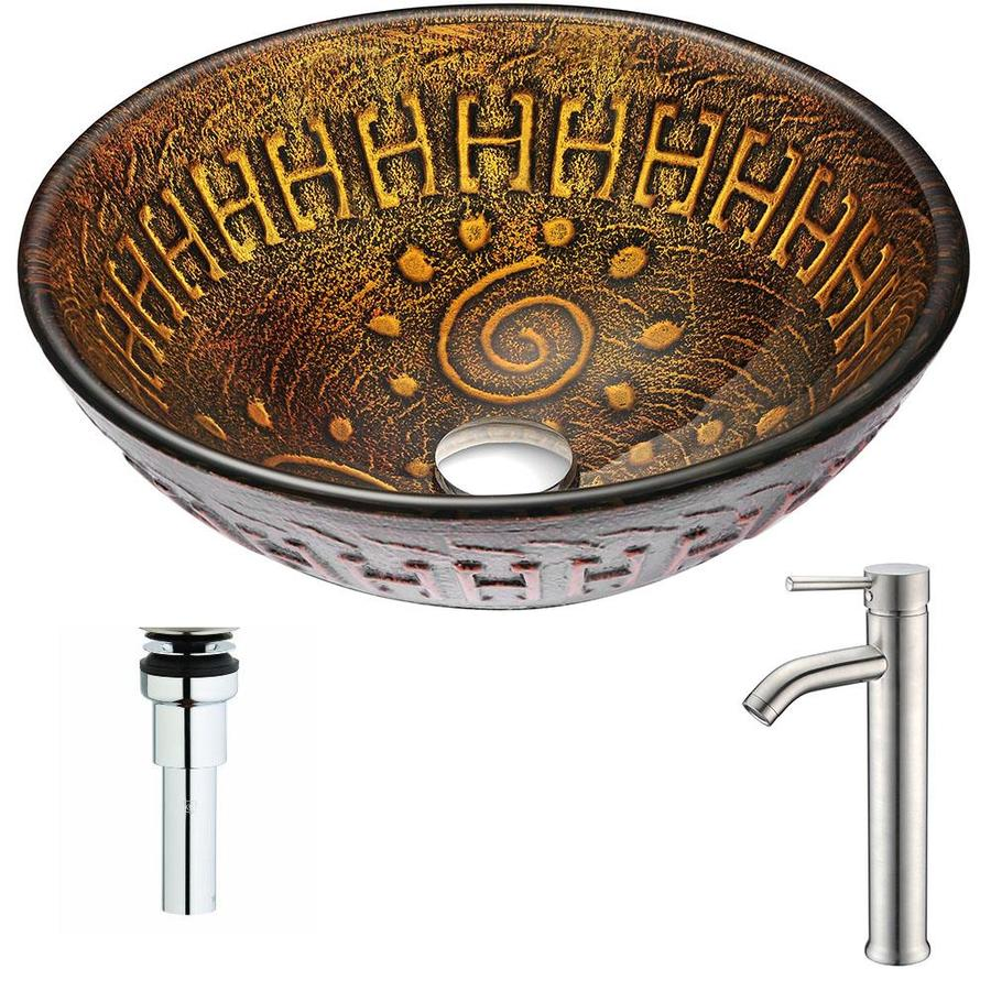 ANZZI Opus Series Lustrous Brown Tempered Glass Round Vessel Bathroom Sink Faucet Included (Drain Included)