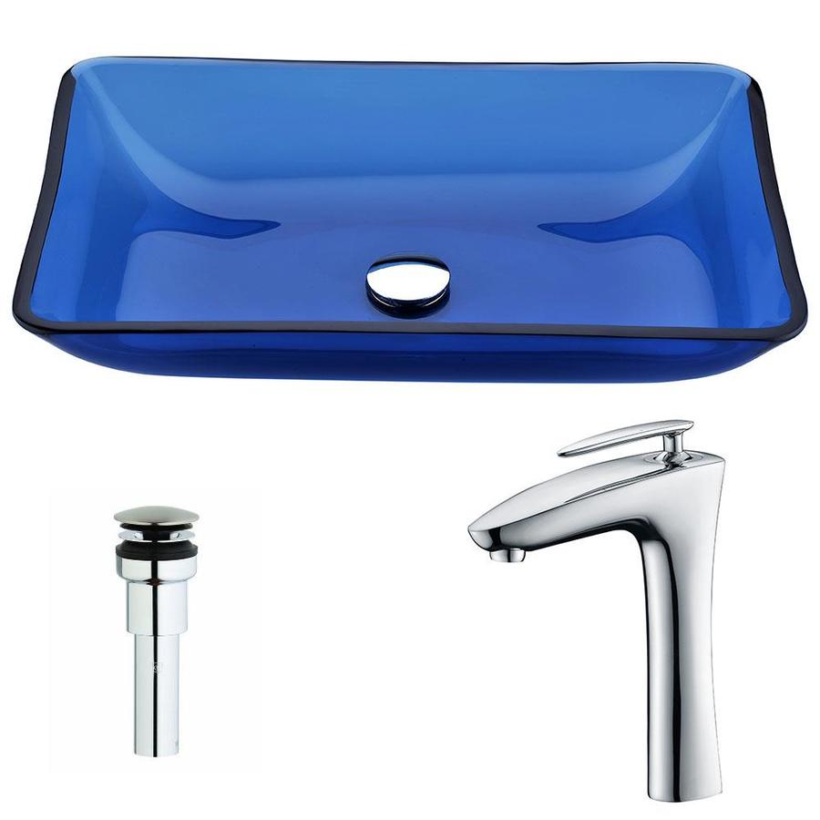 ANZZI Harmony Series Cloud Blue Tempered Glass Rectangular Vessel Bathroom Sink with Faucet (Drain Included)
