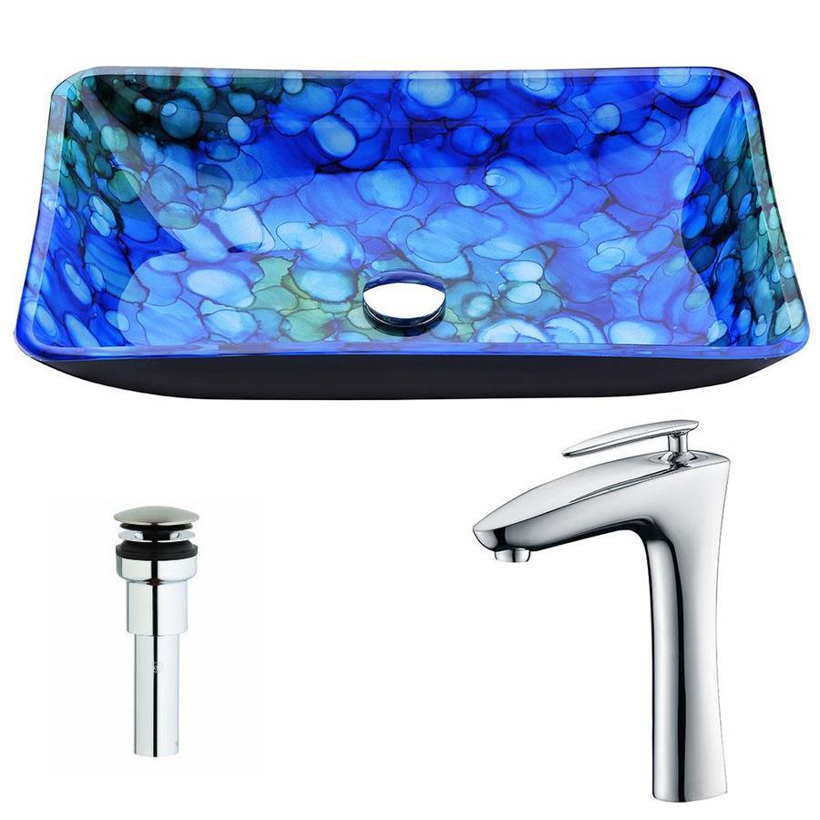 Shop ANZZI Voce Series Lustrous Blue Tempered Glass Rectangular ...