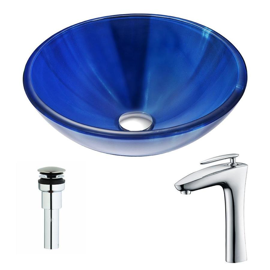 ANZZI Meno Series Lustrous Blue Tempered Glass Round Vessel Bathroom Sink Faucet Included (Drain Included)