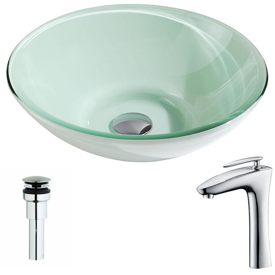 ANZZI Sonata Series Lustrous Light Green Tempered Glass Round Vessel Bathroom Sink with Faucet (Drain Included)