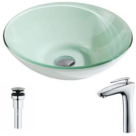 ANZZI Sonata Series Lustrous Light Green Tempered Glass Vessel Round  Bathroom Sink With Faucet (Drain