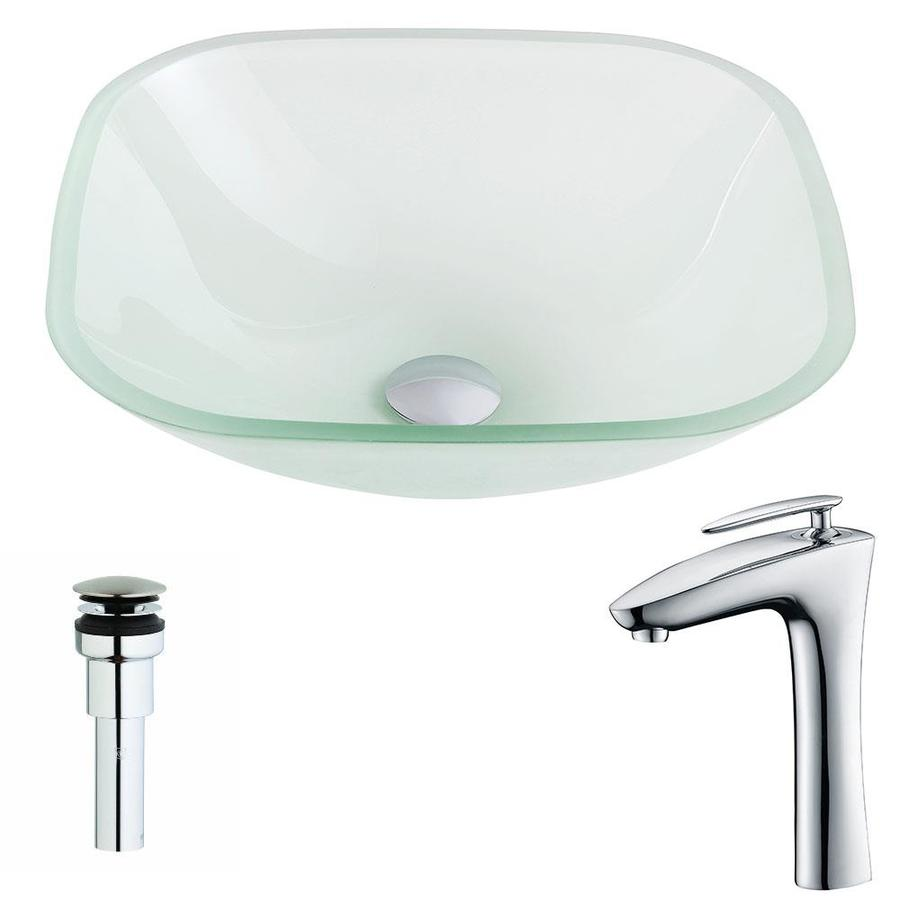 ANZZI Vista Series Frosted Tempered Glass Square Vessel Bathroom Sink Faucet Included (Drain Included)