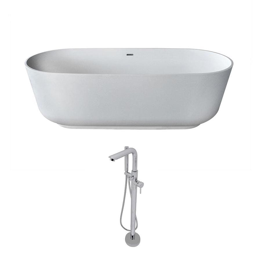 ANZZI Sabbia Series 70.8-in Matte White Solid Surface Freestanding Bathtub with Center Drain