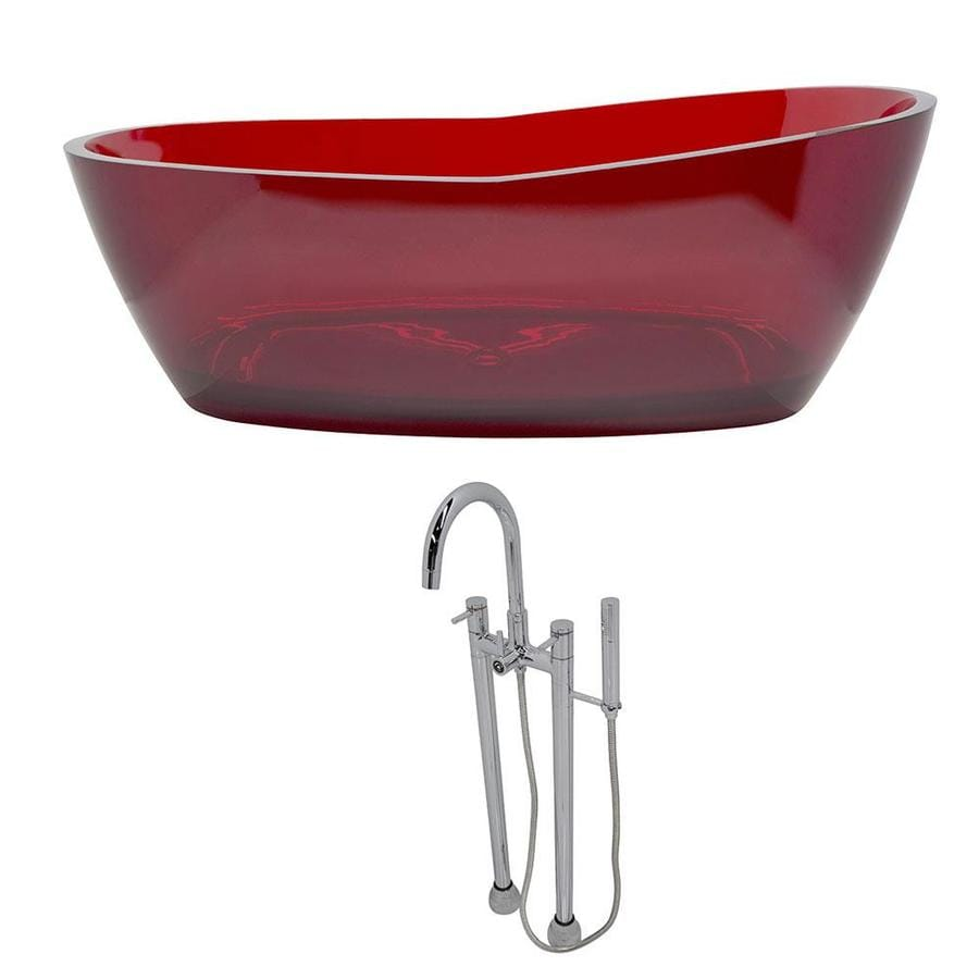 ANZZI Ember Series 65.625-in Deep Red Solid Surface Freestanding Bathtub with Center Drain