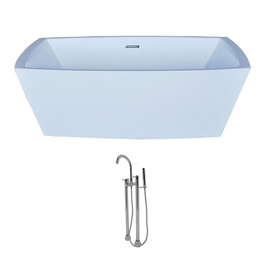 ANZZI Arthur Series 67-in White Acrylic Freestanding Bathtub with Center Drain