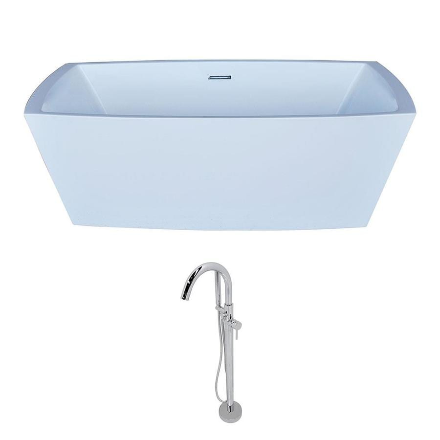 ANZZI Arthur Series 67-in White Acrylic Freestanding Bathtub with Center Drain