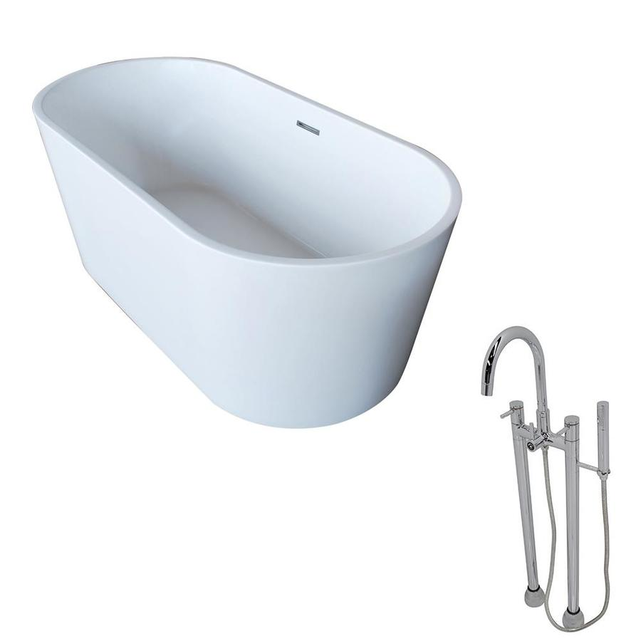 ANZZI Dover Series 67-in White Acrylic Freestanding Bathtub with Center Drain