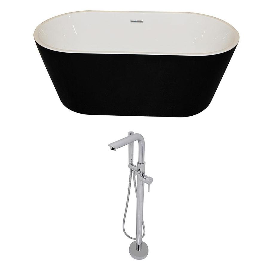 ANZZI Dualita Series 70-in White Acrylic Freestanding Bathtub with Center Drain