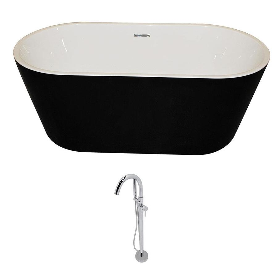 Shop ANZZI Dualita Series 64.75-in White with Center Drain Bathtub ...