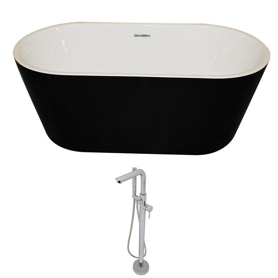 ANZZI Dualita Series 64.75-in White Acrylic Freestanding Bathtub with Center Drain