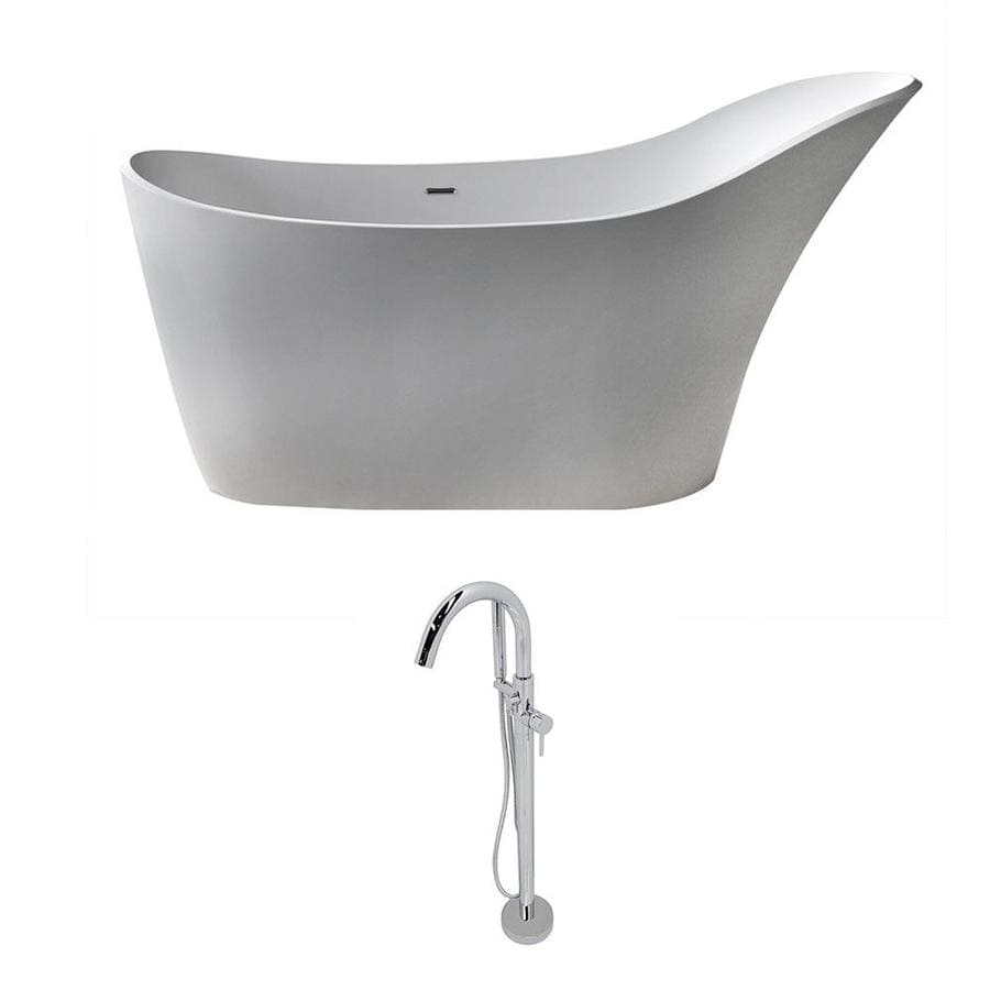 ANZZI Alto Series 67.5-in Matte White Solid Surface Freestanding Bathtub with Center Drain