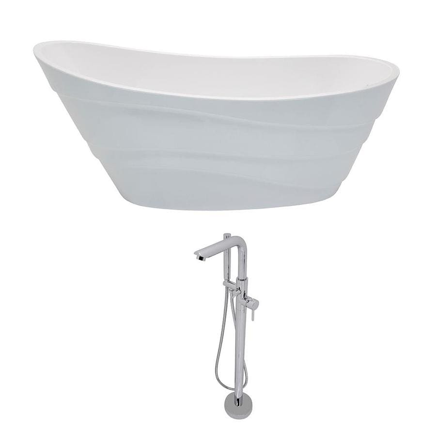 ANZZI Stratus Series 67-in White Acrylic Freestanding Bathtub with Reversible Drain
