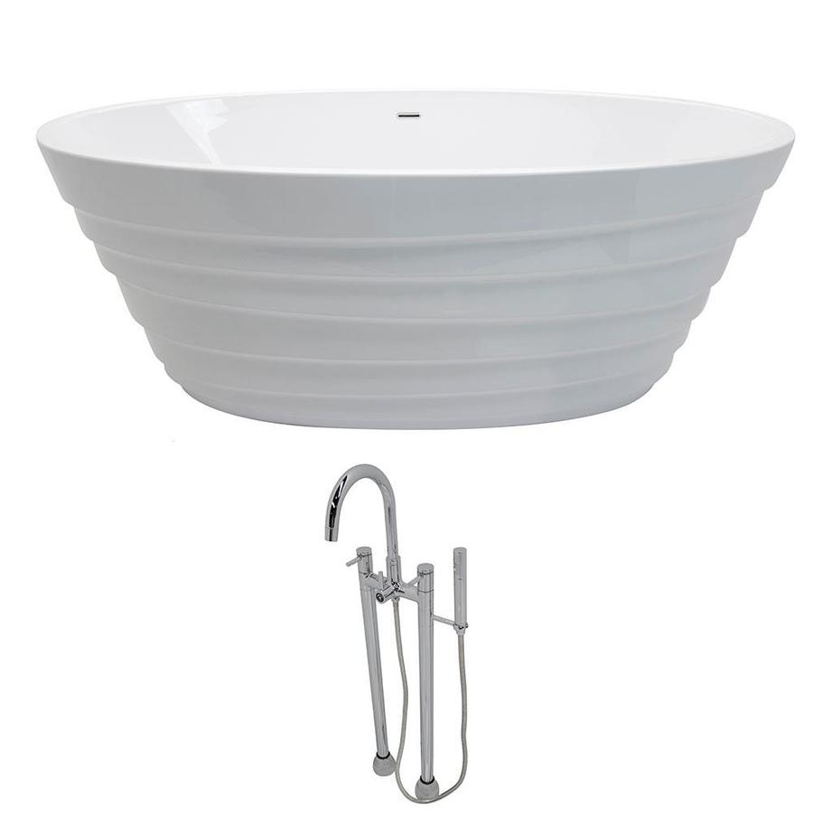 ANZZI Nimbus Series 66.75-in White Acrylic Freestanding Bathtub with Center Drain