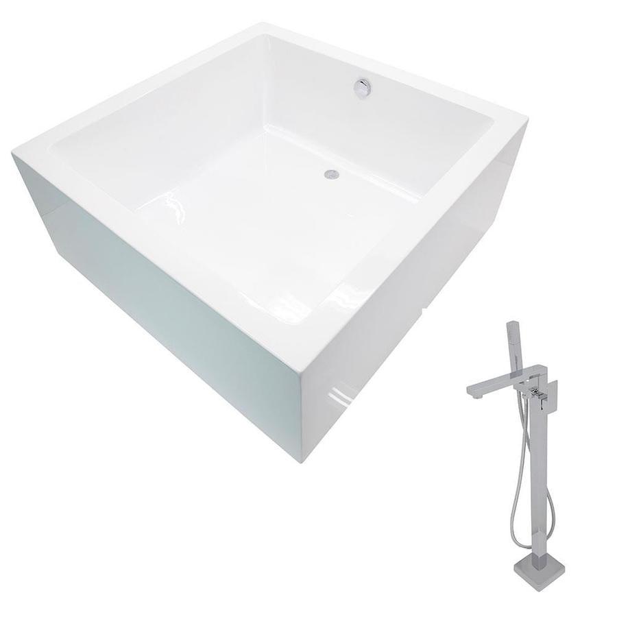 ANZZI Apollo Series 55-in White Acrylic Freestanding Bathtub with Reversible Drain