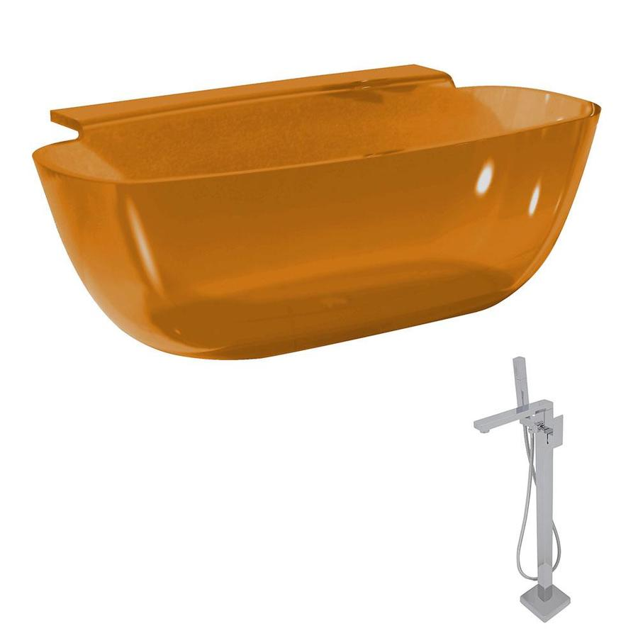 Shop ANZZI Vida Series 62-in Honey Amber Solid Surface Freestanding ...