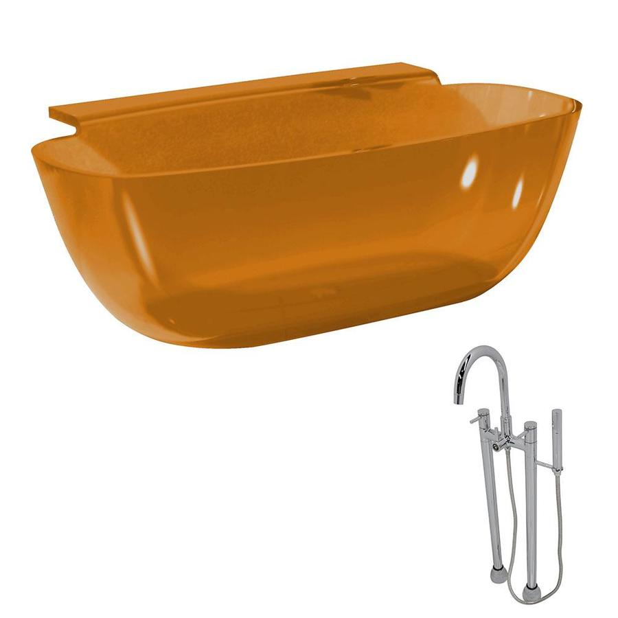 ANZZI Vida 62-in Amber Solid Surface Freestanding Bathtub with Center Drain