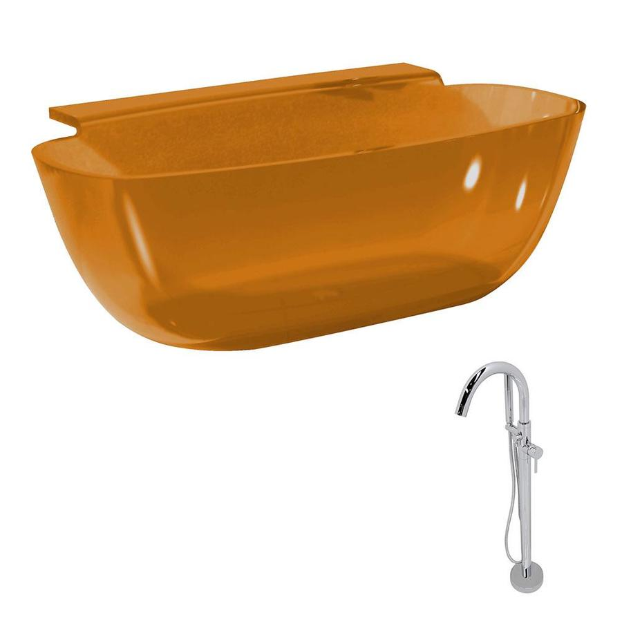 Shop ANZZI Vida Series Honey Amber Solid surface Oval Bathtub ...