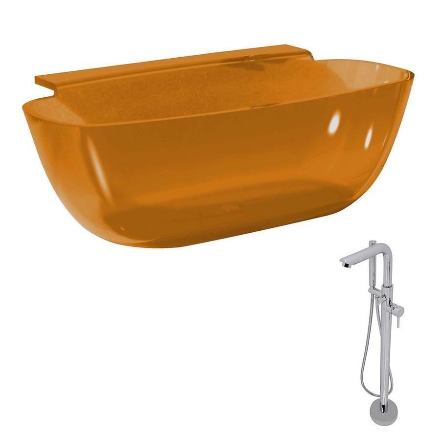 ANZZI Vida Series Honey Amber Solid surface Oval Bathtub Bathtub with Center Drain (Common: 32-in x 62-in; Actual: 23.5-in x 32-in x 62-in)
