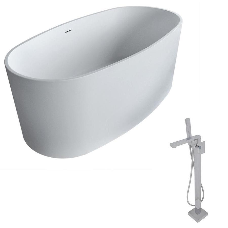 ANZZI Roccia Series 61.4-in Matte White Solid Surface Freestanding Bathtub with Center Drain