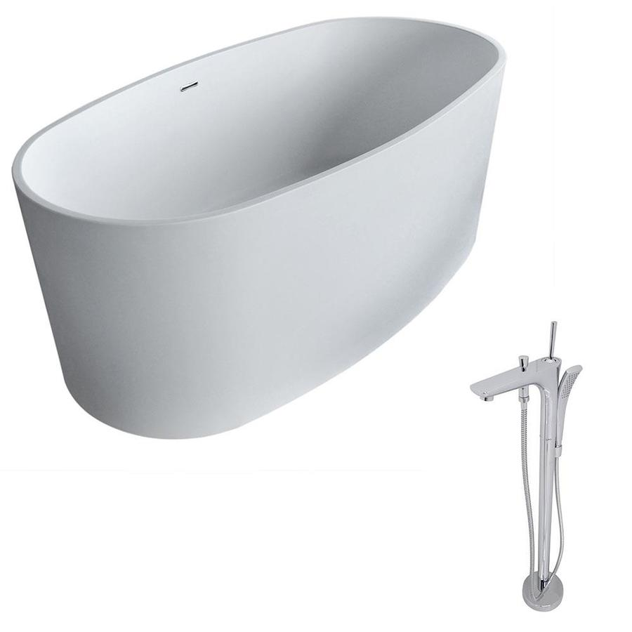 ANZZI Roccia Series 61.4-in Matte White Solid Surface Freestanding Bathtub with Center Drain