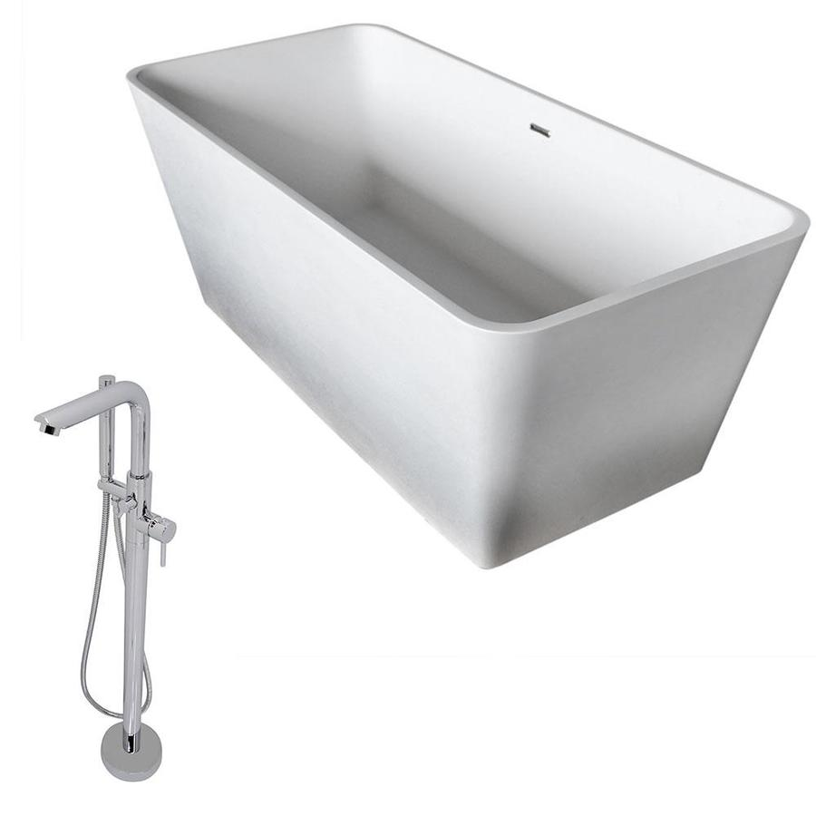ANZZI Cenere Series 58.25-in White Solid Surface Freestanding Bathtub with Center Drain