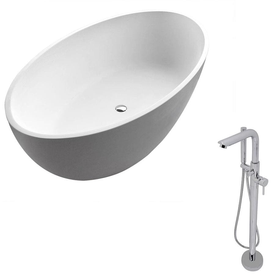 ANZZI Cestino Series 66.5-in Matte White Solid Surface Freestanding Bathtub with Center Drain