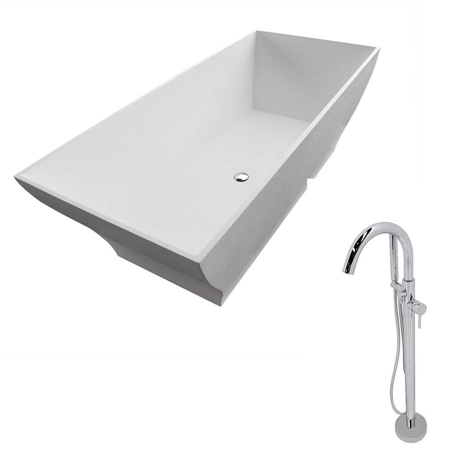 ANZZI Crema Series 70.8-in Matte White Solid Surface Freestanding Bathtub with Center Drain