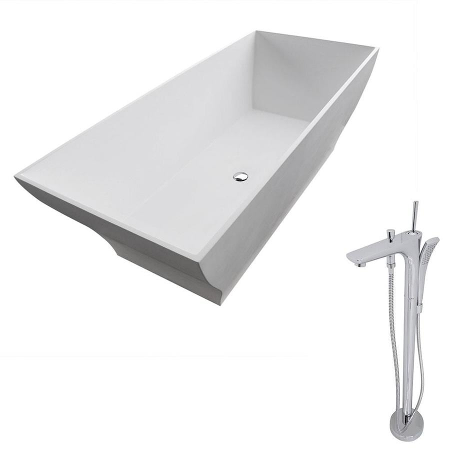 ANZZI Crema Series Matte White Solid surface Rectangular Bathtub Bathtub with Center Drain (Common: 32-in x 71-in; Actual: 22.8-in x 31.5-in x 70.8-in)