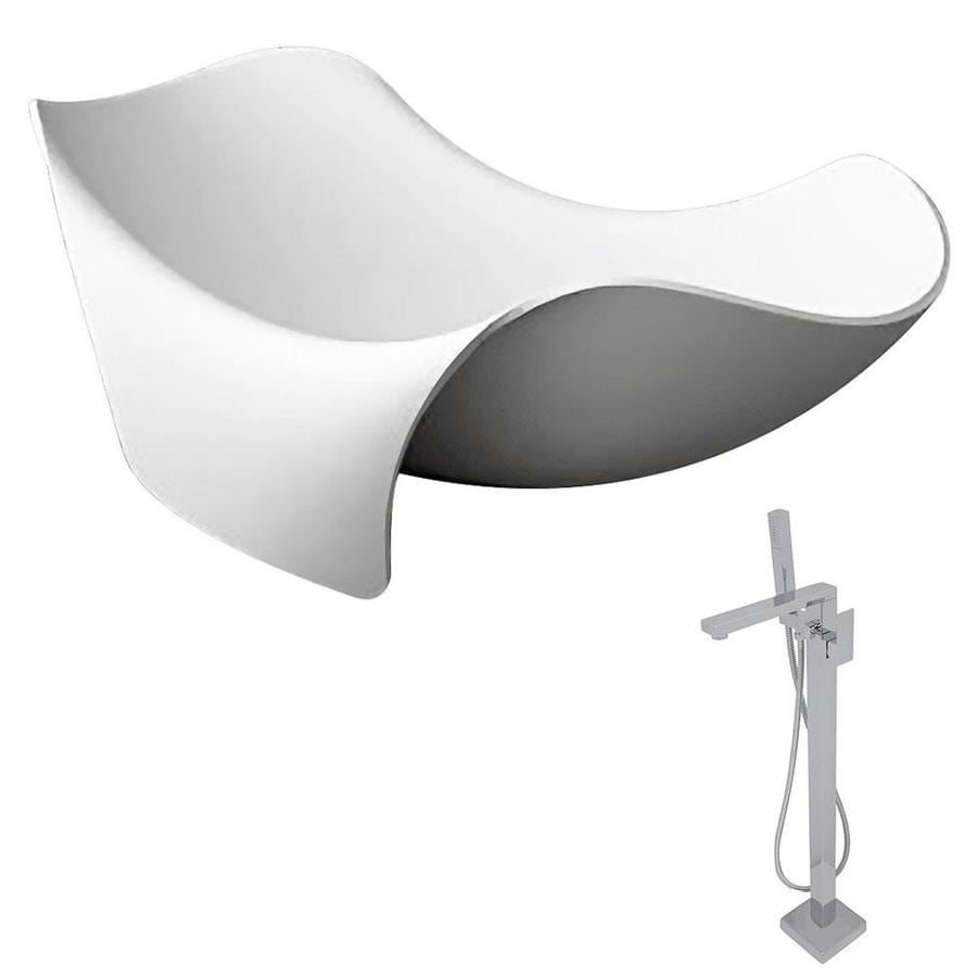 ANZZI Cielo Series 78.7-in White Solid Surface Freestanding Bathtub with Center Drain