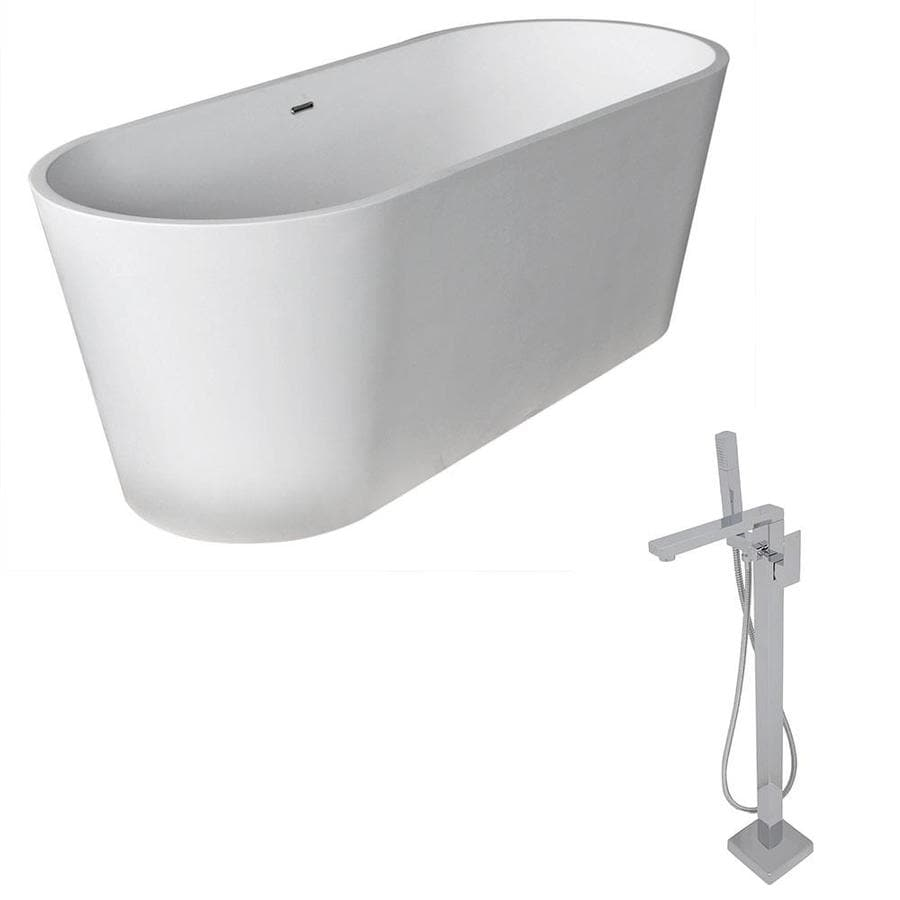 ANZZI Rossetto Series 66.8-in Matte White Solid Surface Freestanding Bathtub with Center Drain