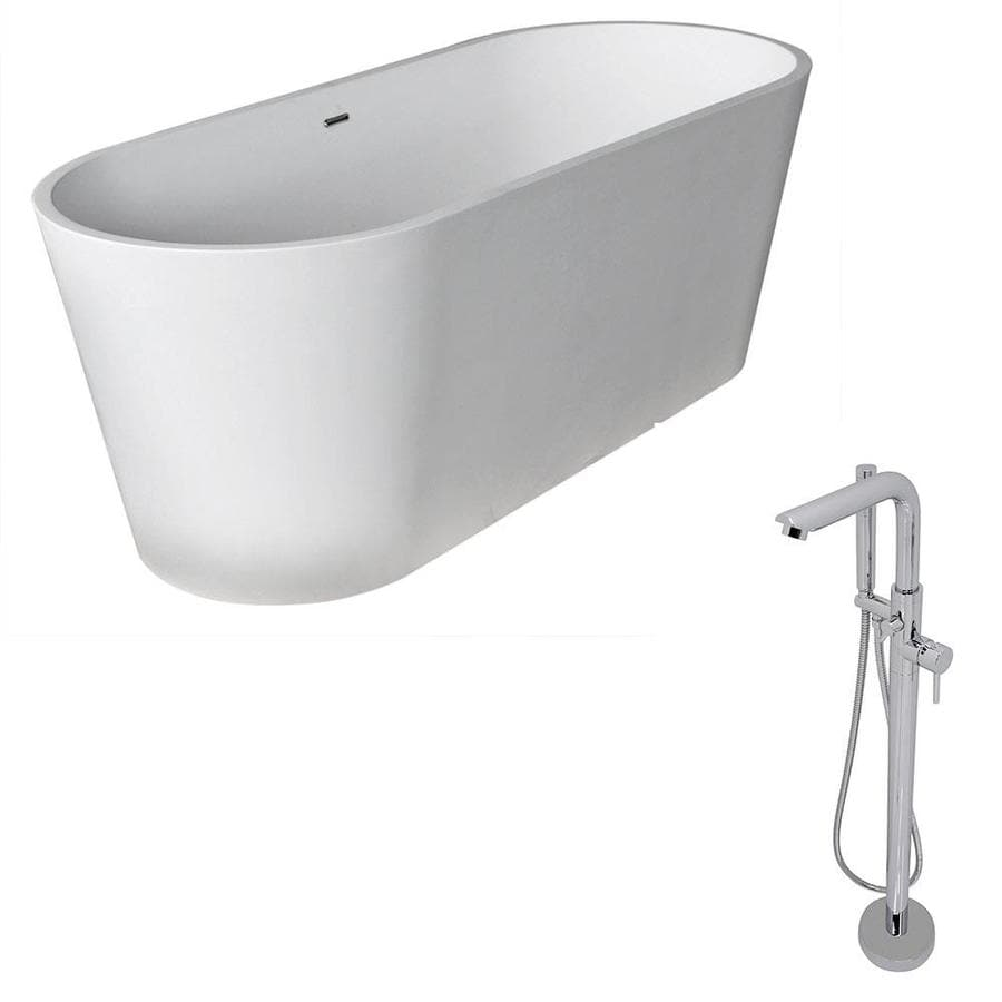 ANZZI Rossetto Series Matte White Solid surface Oval Bathtub Bathtub with Center Drain (Common: 28-in x 67-in; Actual: 24.25-in x 27.75-in x 66.8-in)