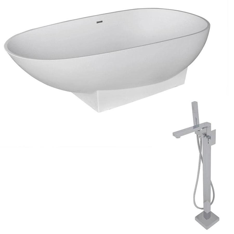 ANZZI Volo Series 70.8-in Matte White Solid Surface Freestanding Bathtub with Center Drain