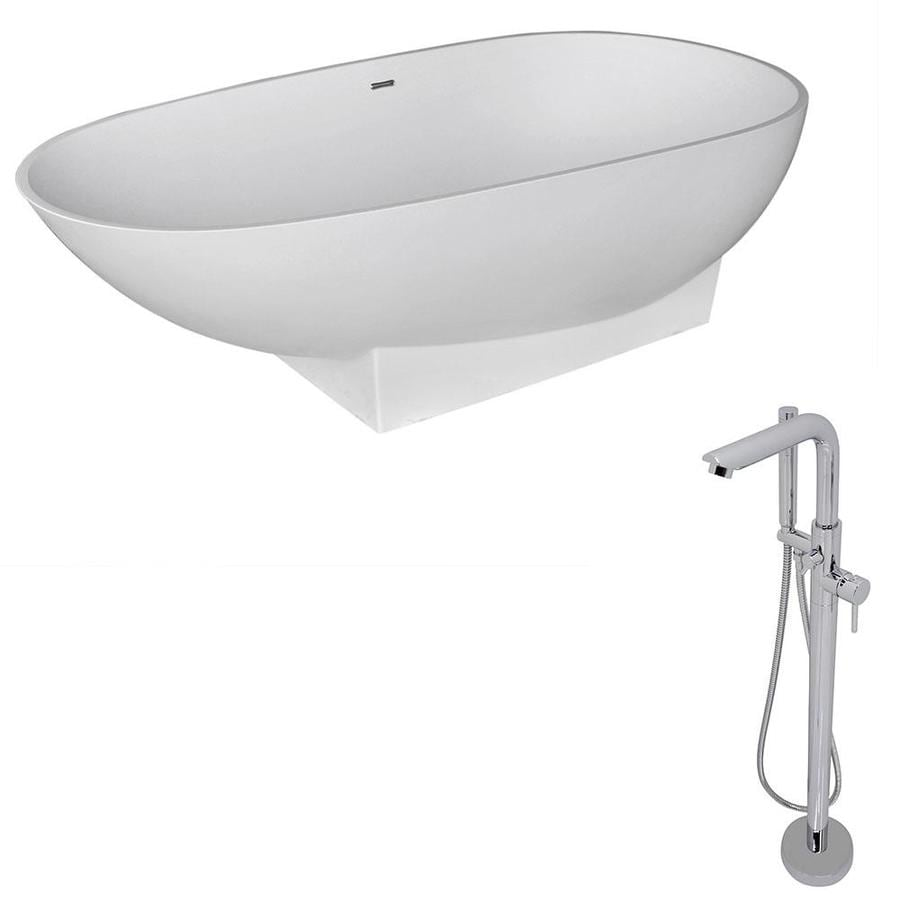 ANZZI Volo Series Matte White Solid surface Oval Bathtub Bathtub with Center Drain (Common: 36-in x 71-in; Actual: 22.2-in x 35.5-in x 70.8-in)