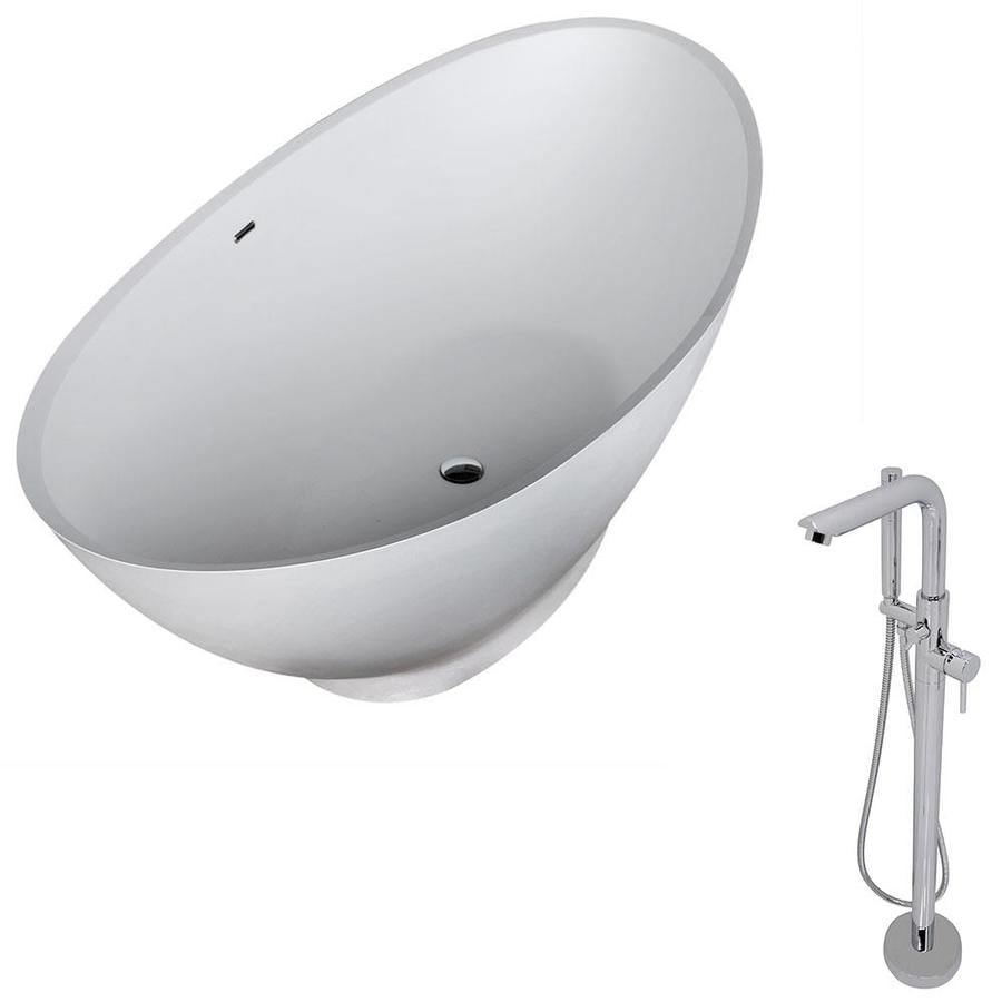 ANZZI Ala Series 74.4-in White Solid Surface Freestanding Bathtub with Center Drain