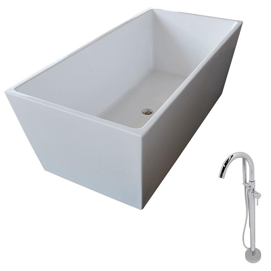 ANZZI Fjord Series 66.8-in White Acrylic Freestanding Bathtub with Center Drain