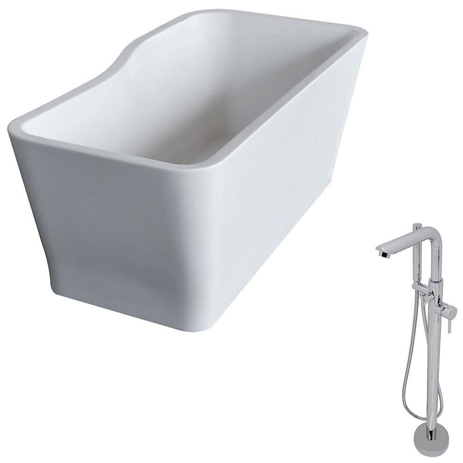 ANZZI Salva Series 68.8-in White Acrylic Freestanding Bathtub with Reversible Drain