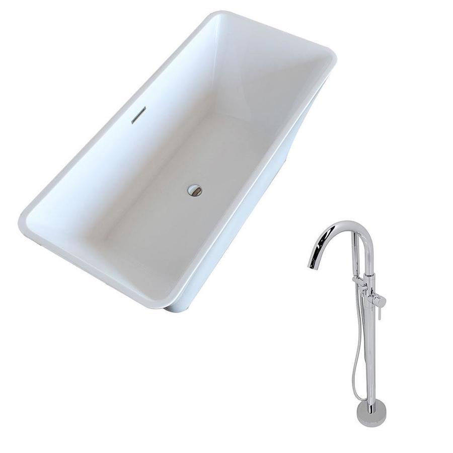 ANZZI Arden Series 66.5-in White Acrylic Freestanding Bathtub with Center Drain