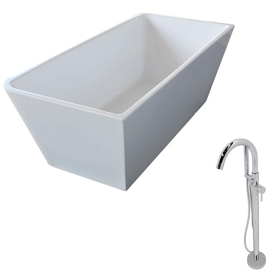 ANZZI Majanel Series 67-in White Acrylic Freestanding Bathtub with Center Drain