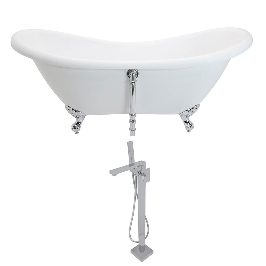 ANZZI Aegis Series 68.75-in White Acrylic Clawfoot Bathtub with Center Drain
