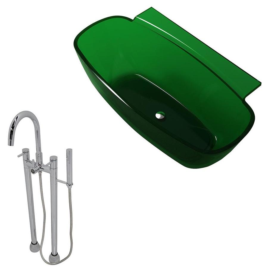 ANZZI Vida Series Emerald Green Solid surface Oval Bathtub Bathtub with Center Drain (Common: 32-in x 62-in; Actual: 23.5-in x 32-in x 62-in)