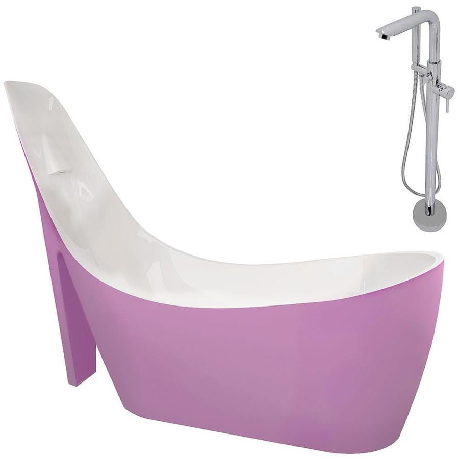 ANZZI Gala Series 80-in White Acrylic Freestanding Bathtub with Center Drain