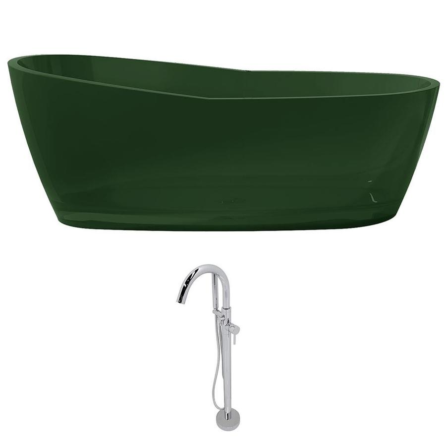 ANZZI Ember Series 65.625-in Emerald Green Solid Surface Freestanding Bathtub with Center Drain