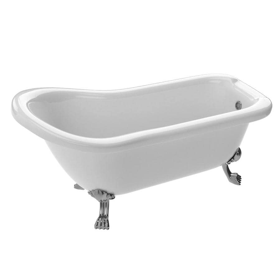 ANZZI Pegasus Series 66.93-in Glossy White Acrylic Clawfoot Bathtub with Center Drain