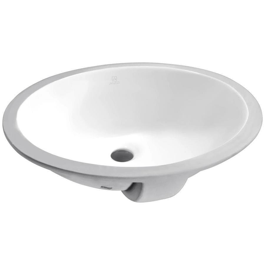 Shop Anzzi Lanmia White Ceramic Oval Undermount Bathroom Sink At