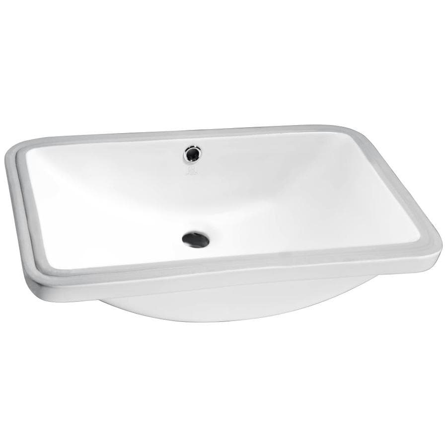 Shop Anzzi Lanmia White Rectangular Undermount Bathroom Sink Overflow Drain At Lowes Com