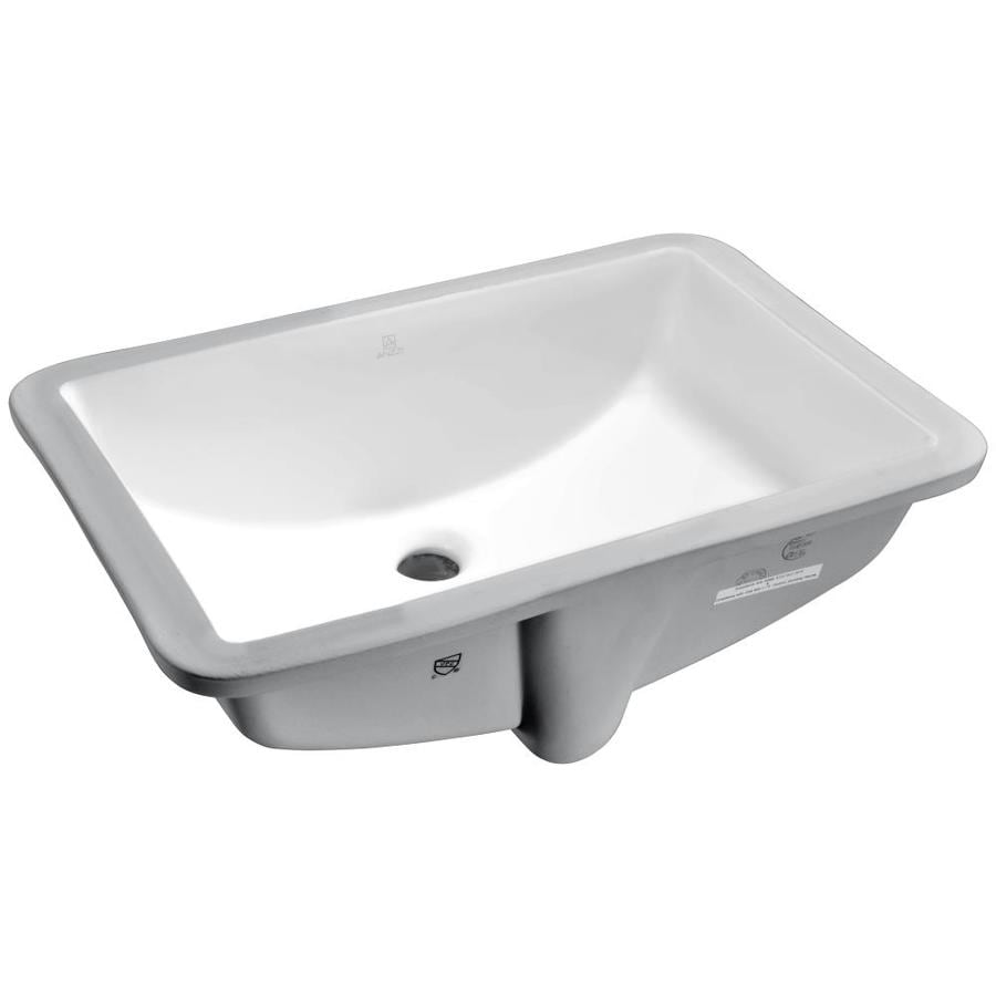 ANZZI Pegasus White Rectangular Undermount Bathroom Sink Overflow Drain